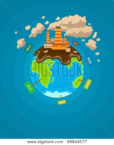 Ecological  infographics Earth planet ecocatastrophe. Eps10 vector illustration.