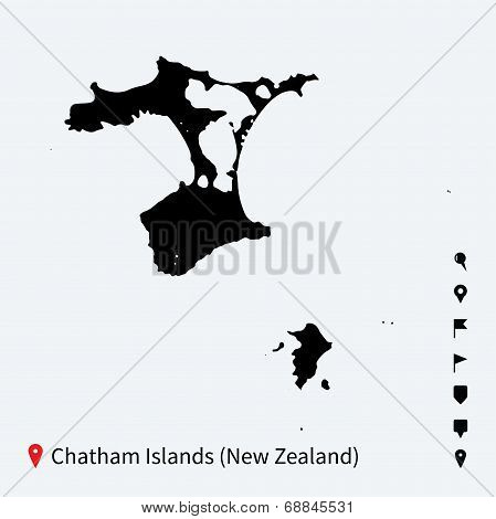High detailed vector map of Chatham Islands with navigation pins.