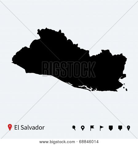 High detailed vector map of El Salvador with navigation pins.