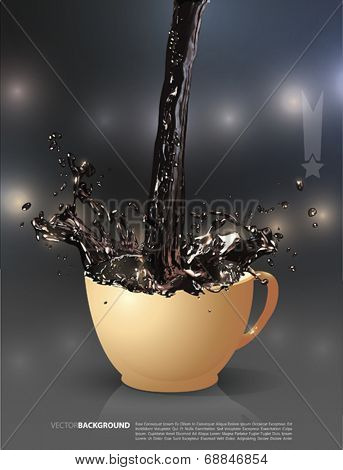 Vector  coffee is splashing in cup