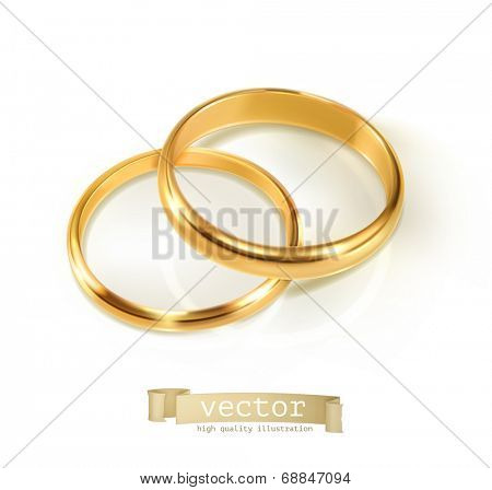 Pair of wedding rings, vector illustration