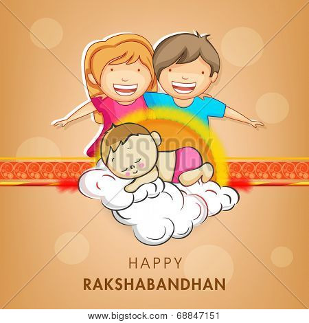Cute little sister and brother holding hands with beautiful rakhi on shiny brown background for Raksha Bandhan celebrations.