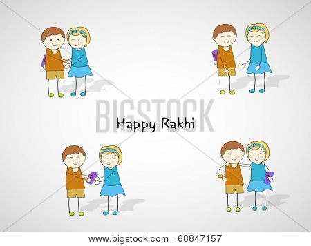 Happy Rakhi celebrations concept with cute brother and sister in various moments on grey background.