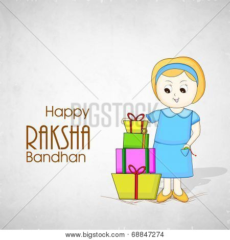 Cute little girl with colorful gift boxes on grey background on the occasion of Happy Raksha Bandhan celebrations.