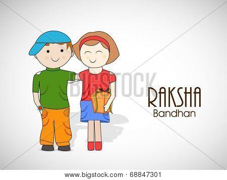 Cute little boy and girl hugging each other on shiny grey background for Raksha Bandhan celebrations.