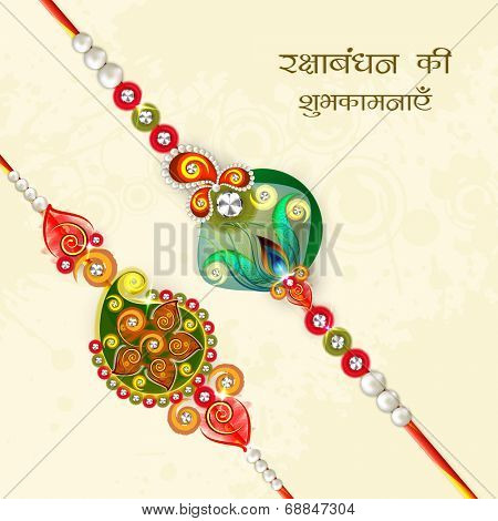 Beautiful peacock feather and pearls decorated rakhi with wishes for Raksha Bandhan celebrations on seamless floral design decorated background.