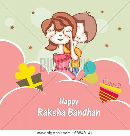 Beautiful concept on occasion of Raksha Bandhan celebrations with cute sister and brother playing on creative abstract background.