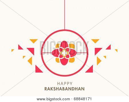 Beautiful sticky design with colorful rakhi on beige background for the Raksha Bandhan festival celebrations.