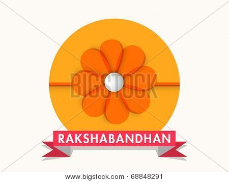 Beautiful sticky with floral design rakhi and red ribbon on grey background on the occasion of Raksha Bandhan celebrations.
