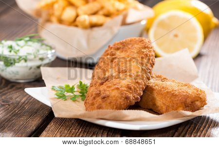 Fried Salmon Filet With Chips