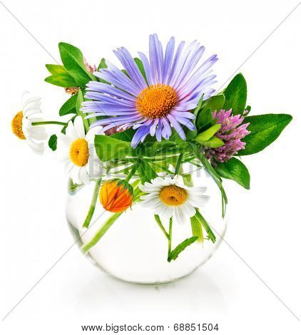Bunch summery flowers in glass vase. Isolated on white background
