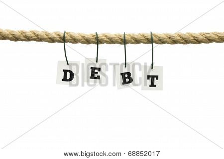 Word - Debt - In Letters Hanging From A Rope