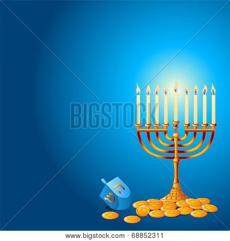 Jewish festival of Hanukkah/Chanukah Background, including Menorah, dreidls/sevivot and Hanukkah Gelt
