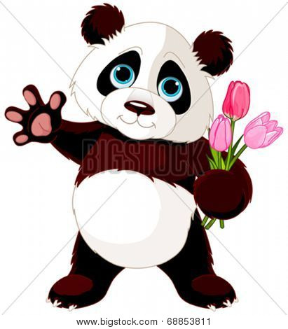 Illustration of Panda holding bouquet of tulips