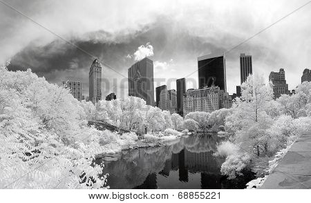Panorama Infrared Image Of The Central Park