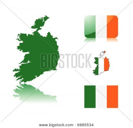 Irish map and flags