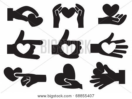 Heart In Hand Vector Icon Set