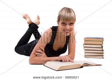 Student Is Lying And Reading Book