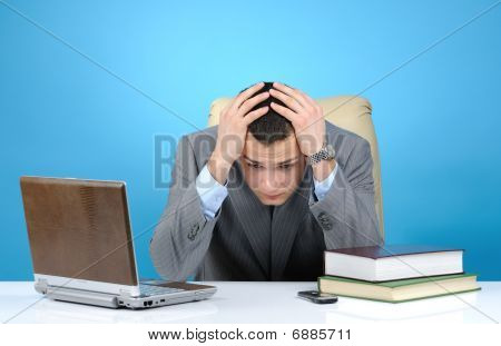 Tired Businessman On Blue