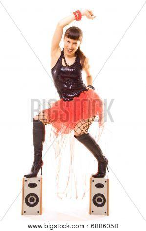 Smiley Brunette Dancing