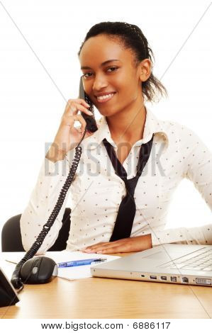 Smiley Businesswoman Talking On The Phone