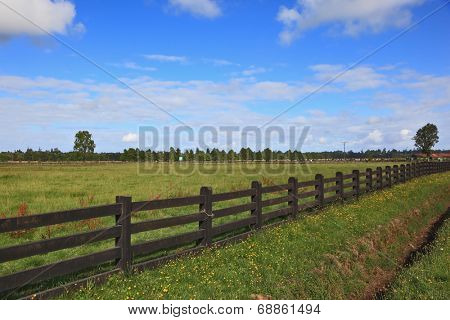Steady herbal farmer's field, fenced low wooden fence