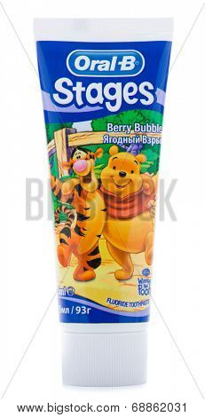 Ankara, Turkey - May 28, 2013: Studio shot of Oral B toothpaste with Walt Disney character Winnie the Pooh isolated on white background.