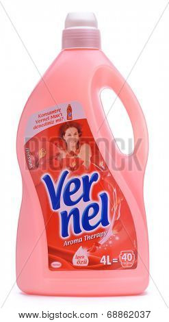 Ankara, Turkey - May 28, 2013: Studio shot of Henkel fabric softener Vernel isolated on white background.