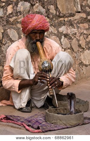 Snake Charmer Is Playing The Flute For The Cobra In Jaipur, India