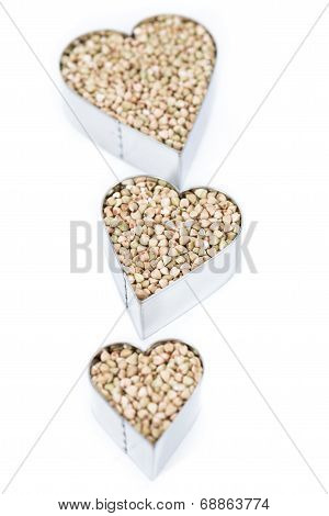Buckwheat In Heart Shapes