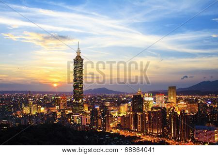 Skyline Of Xinyi District In Downtown Taipei, Taiwan.