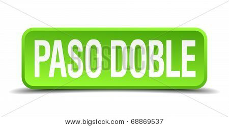 Paso Doble Green 3D Realistic Square Isolated Button