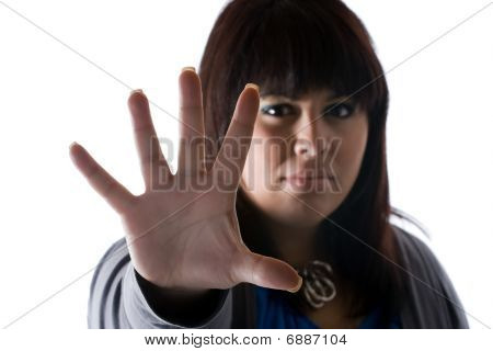 Woman Saying Stop