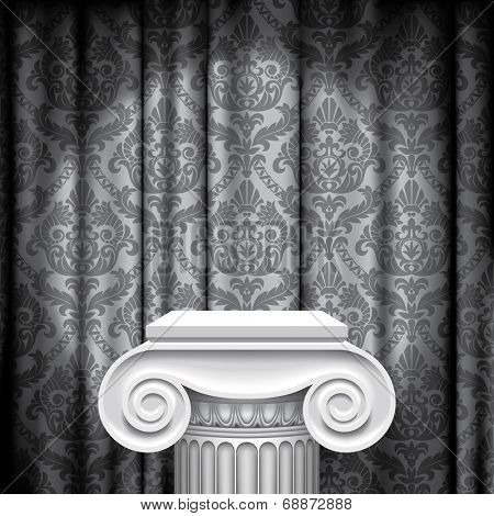 Capital of ancient column against a illuminated gray fabric background with classic ornament (contain the Clipping Path of the capital)