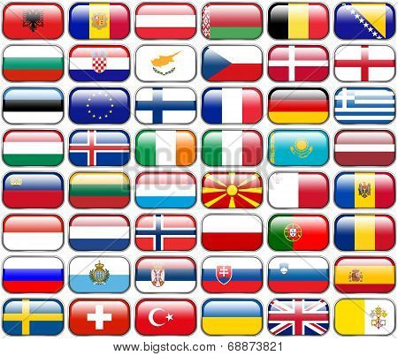 All European Flags - Rectangle Glossy Buttons. Every Button Is Isolated On White Background.