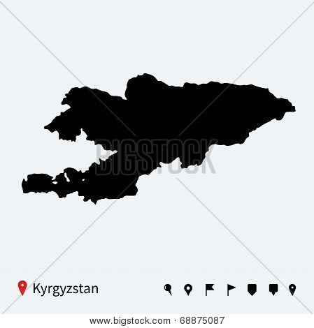 High detailed vector map of Kyrgyzstan with navigation pins.