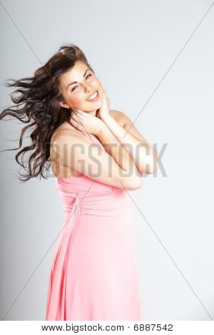 Sexy Young Woman In Pink Dress