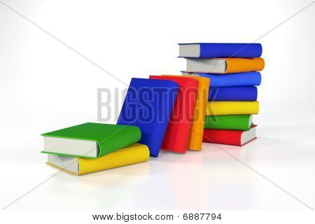 Stacks Of Coloured Books On White With Clipping Path