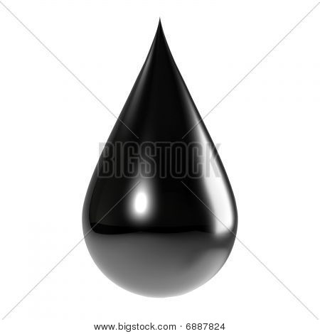 A Black Drop Of Oil Isolated On White Including Clipping Path