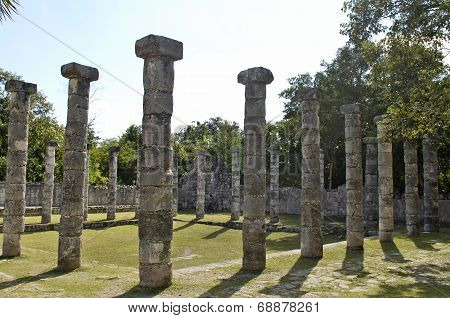 Ancient pillars built by the Mayas
