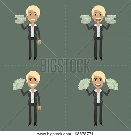 Businesswoman and money in different poses