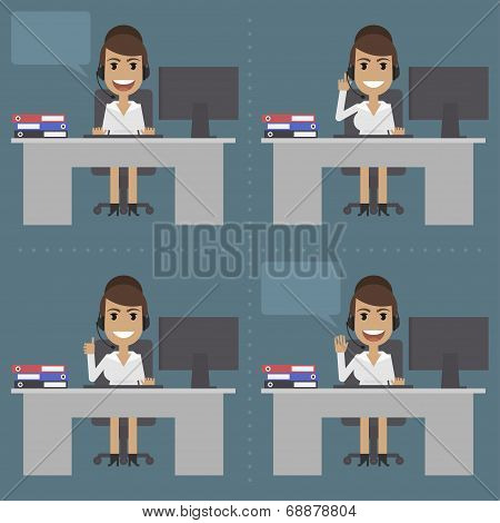 Girl telephone operator, call center, at table