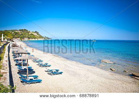 Loutra sand beach on Kassandra peninsula, Halkidiki,  Greece.