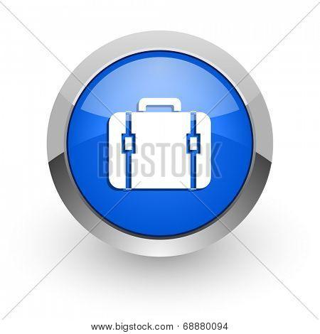bag blue glossy web icon