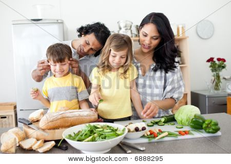 Jolly Family Preparing Lunch Together