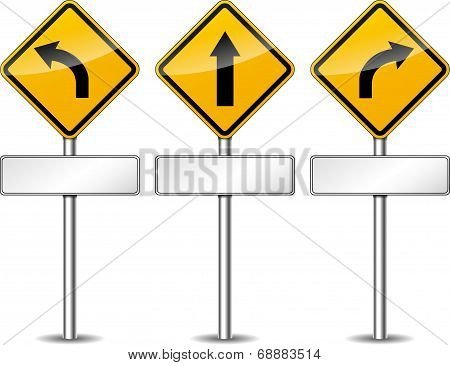 Vector Yellow Directional Signs