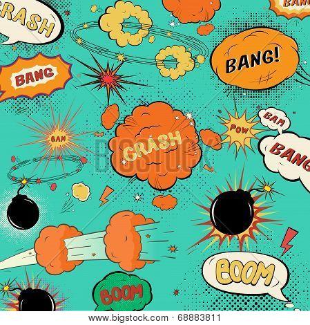 Template Vintage Comic Speech Bubbles, Design In Soft Halftones