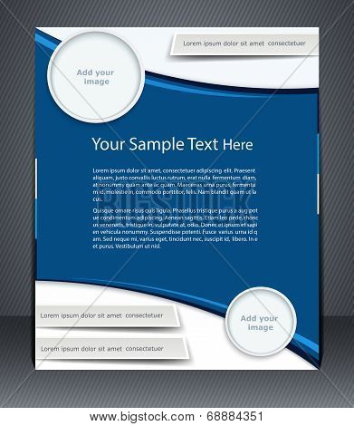 Vector Layout Business Flyer, Magazine Cover, Or Corporate Design Template Advertisment, Blue Color.