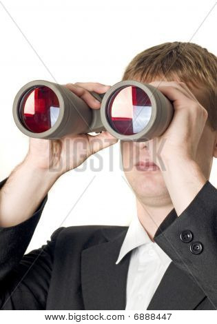 Businessman With Binoculars Searching