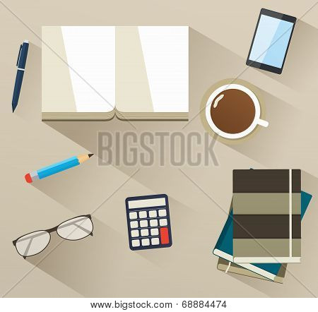 Books On The Desktop With Helper Tools. Set Of Flat Business Icons